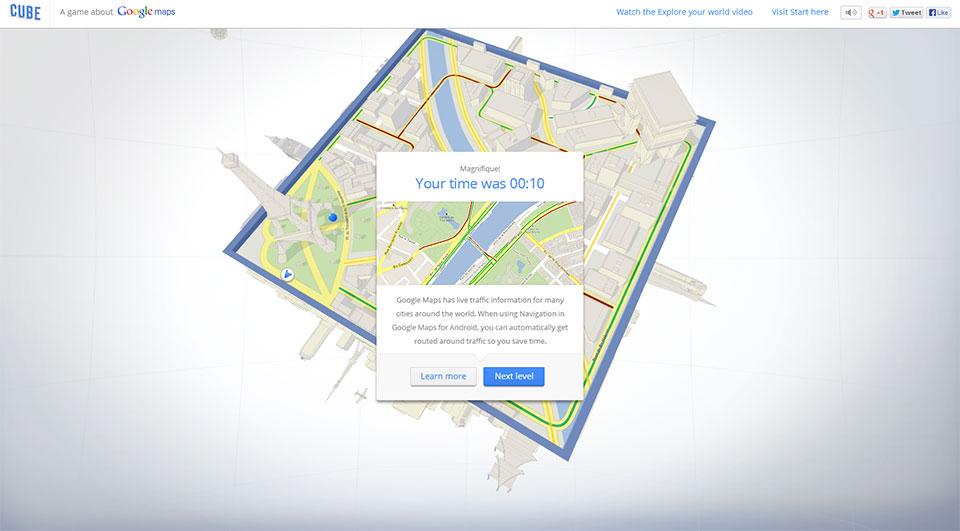 Cube, le jeu Google Maps